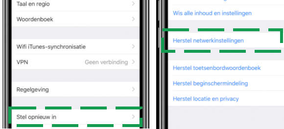 iphone netwerkinstellingen resetten
